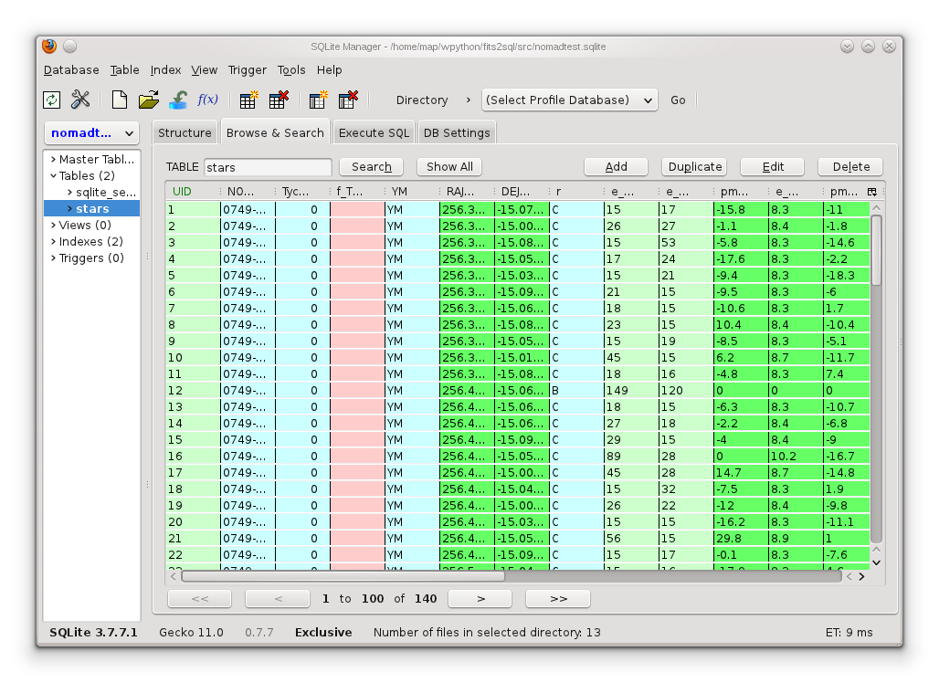 VanderbiltAstro / SQLite Manager